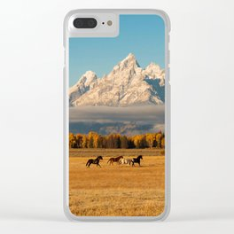 Horses Running in Grand Teton Clear iPhone Case
