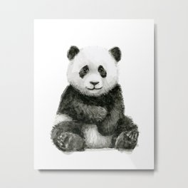 Panda Baby Watercolor Animal Art Metal Print