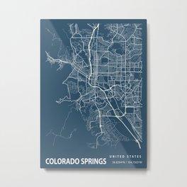 Colorado Springs Blueprint Street Map, Colorado Springs Colour Map Prints Metal Print