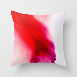 Slow Burn: simple abstract ink on paper in red, purple, and pink Throw Pillow