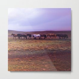 herd of horses in rose tinted aesthetic wildlife art abstract nature photography Metal Print