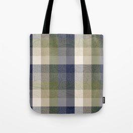Chambray Fiord Swirly Plaid Tote Bag