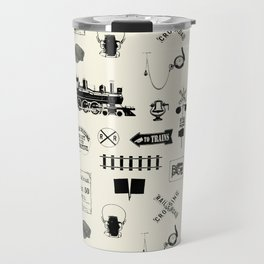 Railroad Symbols // Beige Travel Mug