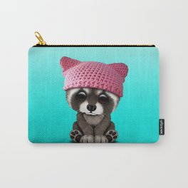 Cute Baby Raccoon Wearing Pussy Hat Carry-All Pouch