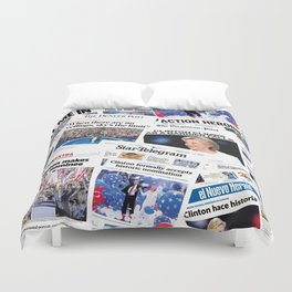 Hillary 2016 Historic Front Pages Duvet Cover