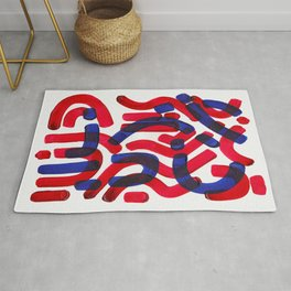 Mid Century Modern Abstract Colorful Unique Alien Pattern Shapes Burgundy Blue Alien Symbols Rug