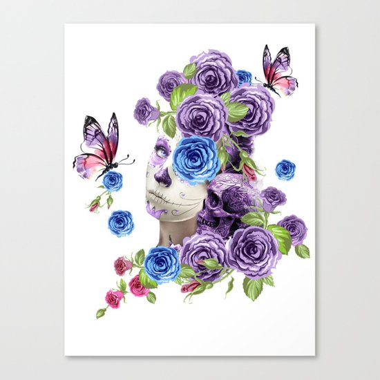 Combination with roses, skull and woman Canvas Print