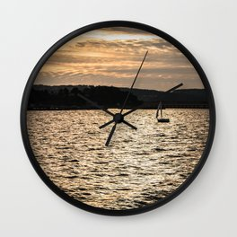 Sunset in San Francisco bay Wall Clock