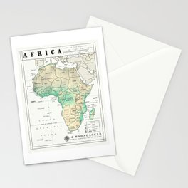 Africa and Madagascar Map Print Stationery Cards