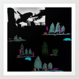 Through The Trees. Trees, Birds, Abstract, Black, White, Jodilynpaintings Art Print