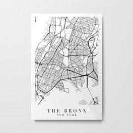 The Bronx New York Street Map Minimal Metal Print