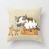 appa Throw Pillows featuring Ride The Sky Bison  by Serkworks Pop