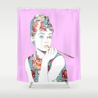 audrey Shower Curtains featuring Audrey by Laura Maria Designs