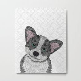 Welsh Corgi Coco (green eyes) Metal Print