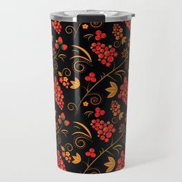 Traditional russian khokhloma print with berries and floral motives Travel Mug