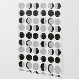 Moon Phases - White Wallpaper