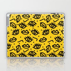 Face Time - retro throwback minimal pattern eyes faces 1980s 80s vintage memphis drawing monochrome Laptop & iPad Skin