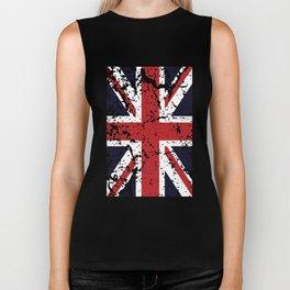 Union Jack Faded United Kingdom Flag 9 Biker Tank