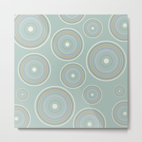CONCENTRIC CIRCLES IN GREEN (abstract pattern) Metal Print
