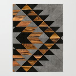 Urban Tribal Pattern 10 - Aztec - Concrete and Wood Poster