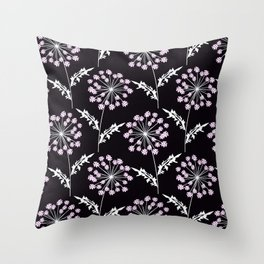 Fishnet pink flowers on a black background. Throw Pillow