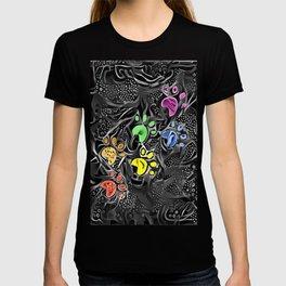 Prehistoric Paw Prints - Rainbow Abstract T-shirt