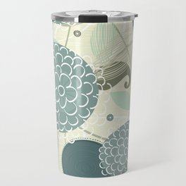 Abstract Floral Blue by Friztin Travel Mug