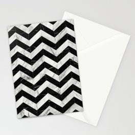 Marble Chevron Pattern 2 - Black and White Stationery Cards