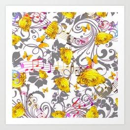 MUSICAL BUTTERFLIES FESTIVAL & YELLOW ROSE SCROLLS Art Print