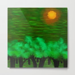 Trees in the Middle of the Green Forest Metal Print