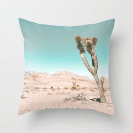 Vintage Desert Scape // Cactus Nature Summer Sun Landscape Photography Throw Pillow