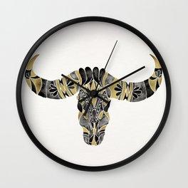 Water Buffalo Skull – Black & Gold Palette Wall Clock
