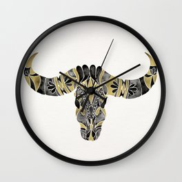Water Buffalo Skull – Black & Gold Palette Wall Clock