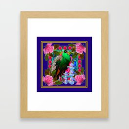 INDIGO & PINK-RED  ROSES GREEN PEACOCK IRIS FLORAL Framed Art Print