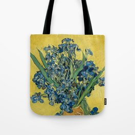 Still Life: Vase with Irises Against a Yellow Background Tote Bag
