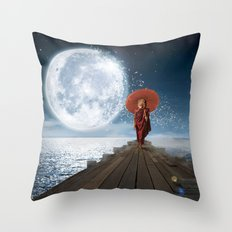 Lion Under the Moon Throw Pillow