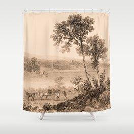 Lake Champlain 1850 (sepia) Shower Curtain