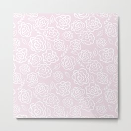 Floral Outlines - White/Blush Metal Print