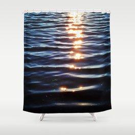 Golden Sunset Droplets Shower Curtain