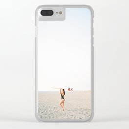 Surfer girl | Wanderlust photography of a woman with surfboard | Coastal wall art. Clear iPhone Case
