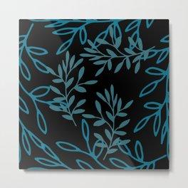 Leafy Teal Metal Print