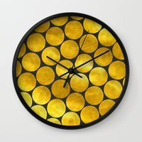 gold dots Wall Clocks featuring Gold Polka Dots by Juste Pixx Designs