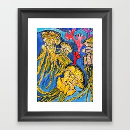Jelly Fish    Oil Painting   #society6   #decor  #buyart Framed Art Print