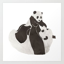 Mother and baby panda playing Art Print
