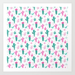 Cactus Pattern Fun Art Print