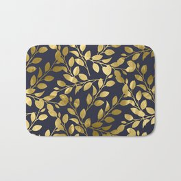 Gold Leaves on Navy Bath Mat