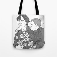 the smiths Tote Bags featuring Sherlock as The Smiths by Stitchy