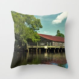 Historic River Warehouse Throw Pillow