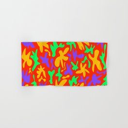 Abstract cute whimsical bright funny shapes on red background. Colorful retro stylish trendy design. Hand & Bath Towel