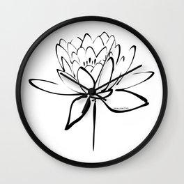 Lotus Blossom Calligraphy Black Wall Clock